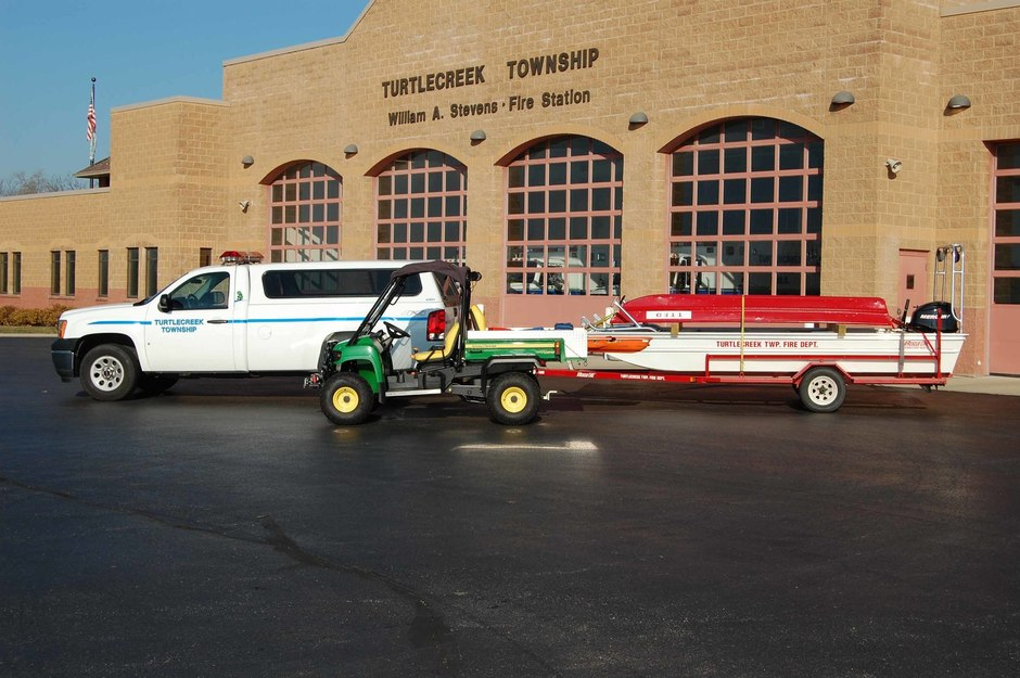 ATV 32: Four Wheel Drive John Deere Gator, Boat 32: Rescue One 16 foot boat, Utility 32: 2008 GMC Sierra 4x4 Pick-up Truck